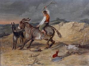 A Man Riding a Stubborn Mule